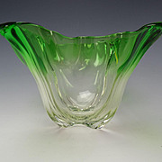 Art Nouveau Steuben Grotesque Emerald Green to Clear Glass Vase