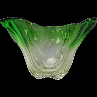 Art Nouveau Steuben Grotesque Emerald Green to Clear Glass Vase