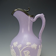 Antique Alcock Parian Lavender Jasperware Jasper English Pottery Jug Pitcher
