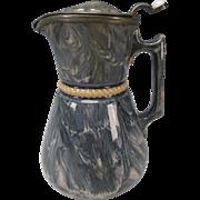 Antique MacIntyre Slipware Glaze Marble Slip Pottery Jug Pitcher c1850