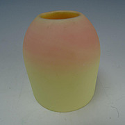Antique New England Peachblow Custard Glass Fairy Lamp Shade