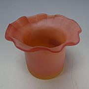 Antique New England Peachblow Glass Ruffled Hat Toothpick Holder Vase