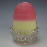 Antique Victorian New England Peachblow Glass Clarkes Pyramid Fairy Lamp