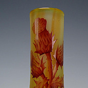Art Nouveau Daum Nancy Carved Thistle Rainbow Cameo Glass Cabinet Vase