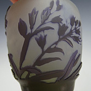 Antique Galle Signed Cameo Glass Cabinet Vase Amethyst