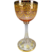 Fine Antique Moser Enameled and Cut Wine Glass c1890