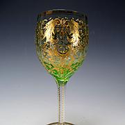Antique Moser Enamel Gilt Wine Glass Stem c1895