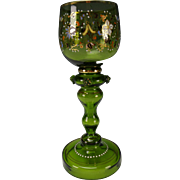 Antique Bohemian Theresienthal Tall Enamel Gilt Wine Glass Stem