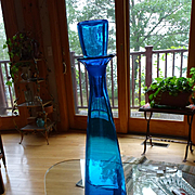 "HUGE Blenko 34"" Turquoise Architectural Glass Decanter Vintage #6138"