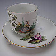 Antique 18c Meissen Porcelain Hand Painted Cup and Saucer