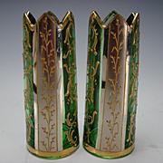 Antique Moser Bohemian Platinum & Enamel Gilt Glass Cut Crown Top Vase Pair