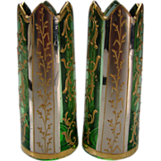 Antique Moser Bohemian Platinum & Enamel Gilt Glass Cut Crown Top Vase Pair
