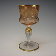 Antique Daum Nancy French Engraved Gilt Wine Glass Stem c1910