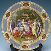 Antique Royal Vienna Imperial Porcelain Hand Painted Europa Portrait Plate c1820