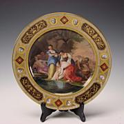 Antique Royal Vienna Imperial Porcelain Hand Painted Achilles Baptism Plate 19c