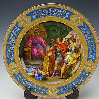 Antique Royal Vienna Hand Painted Porcelain Portrait Plate c1812