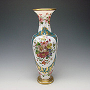 Great c1870 Baccarat Jean Francois Robert Hand Painted Opaline Glass Vase