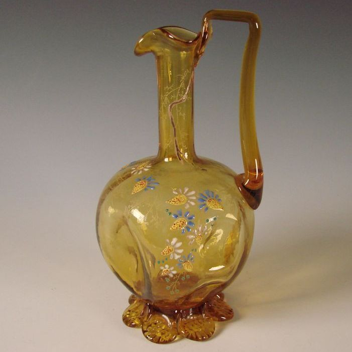 Antique Emile Galle Glass Decanter Pitcher Gilt & Enamel Decorated French 1900