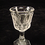 Antique American Brilliant Cut Engraved Berry Liquor Apertif Wine Glass Cordial 1900
