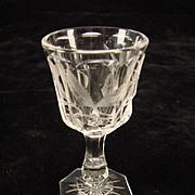 Antique American Brilliant Cut Engraved Berry Liquor Apertif Wine Glass Cordial 1900