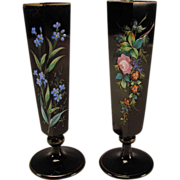 Antique Bohemian Black Amethyst Hand Painted Enamel Glass Vases c1885