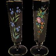 Antique Bohemian Black Amethyst Hyacinth Hand Painted Enamel Glass Vases c1875