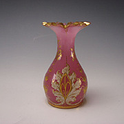 Antique Bohemian Lobmeyr Harrach Elegant Gilt Enamel Pink Opaline Glass Vase WOW!!