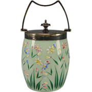 Victorian English Bristol Opaque Green Opaline Enamel Cracker Cookie Jar Silver