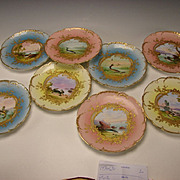 Antique Haviland Limoges Hand Painted China French Porcelain Fish Scenic Plates