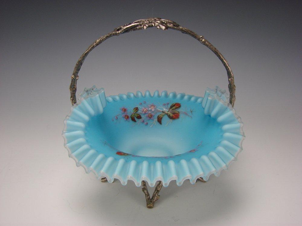 Antique Victorian Satin Glass Silver Figural Brides Basket Bowl
