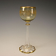 Antique Moser Bohemian Enamel Gilt Hand Decorated Blown Wine Glass Stem