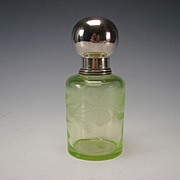 Antique Bohemian or Boston Sandwich Engraved Lily on Vaseline Glass Sugar Shaker Lidded Jar