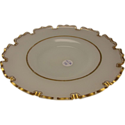 Antique Bohemian/French Opaline Gilt Van Dyke Cut Rim Charger Plate c1870