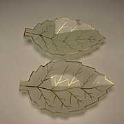 Antique Bohemian Moser Gilt Opaline Glass Cut Leaf Leaves Form Plates Trays PR