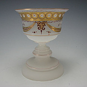 Antique Bohemian or French Enamel Opaline Glass Wine Chalice 19c