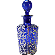 Antique Moser Cobalt Blue Enameled Lobed Glass Perfume Scent Bottle
