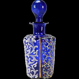 Antique Moser Cobalt Blue Enameled Lobed Glass Perfume Scent Bottle
