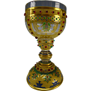 RARE Antique Russian Imperial Translucent Enameled and Beaded Wine Glass Stem c1865