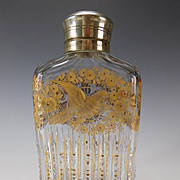 Antique Moser Bohemian Engraved Parcel Gilt Cut Glass Liquor Flask Decanter