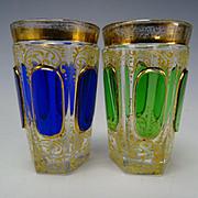 Antique Moser Cabochon Gilt Enamel Pair of Shot Glass Tumblers Pair Scarce
