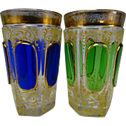 Antique Moser Cabochon Gilt Enamel Pair of Shot Glass Tumblers Pair Scarce