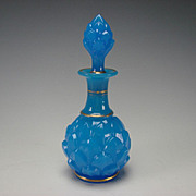 Antique Baccarat Blue Opaline Artichoke Scent Perfume Bottle