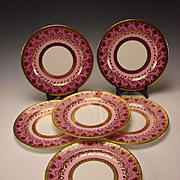 Art Nouveau Cauldon China English Porcelain Dinner Plates SET of 6 VERY UNUSUAL DESIGN