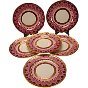Art Nouveau Cauldon China English Porcelain Dinner Plates SET of 6 EX!