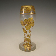 Antique Signed Mont Joye Cut French Cameo Glass Elegant Gilt Vase