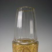 Early Art Deco Bohemian Moser Gilt Frieze Panel Cut Panel Faceted Glass Vase