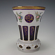 Antique c1900 Cased Hand Painted White Enamel on Amethyst Glass Beaker Vase