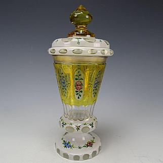 Antique Josephinenhutte Hand Enameled Cased and Cut Bohemian Glass Pokal Lidded Stein