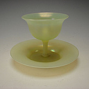 RARE Antique Steuben Carder Yellow Opalescent Sherbet and Under Plate