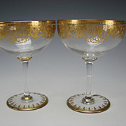 Antique Josephinenhutte Moser Bohemian Elegant Ornate Gilt Glass Footed Compote PAIR